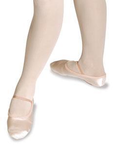 Ballettschuh aus Obermaterial Satin, geteilte Sohle aus Wildleder. Gummiband inklusive.