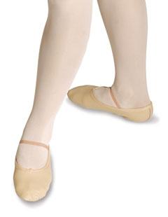 Ballettschuh aus Leder, geteilte Sohle aus Wildleder, Gummiband inklusive.